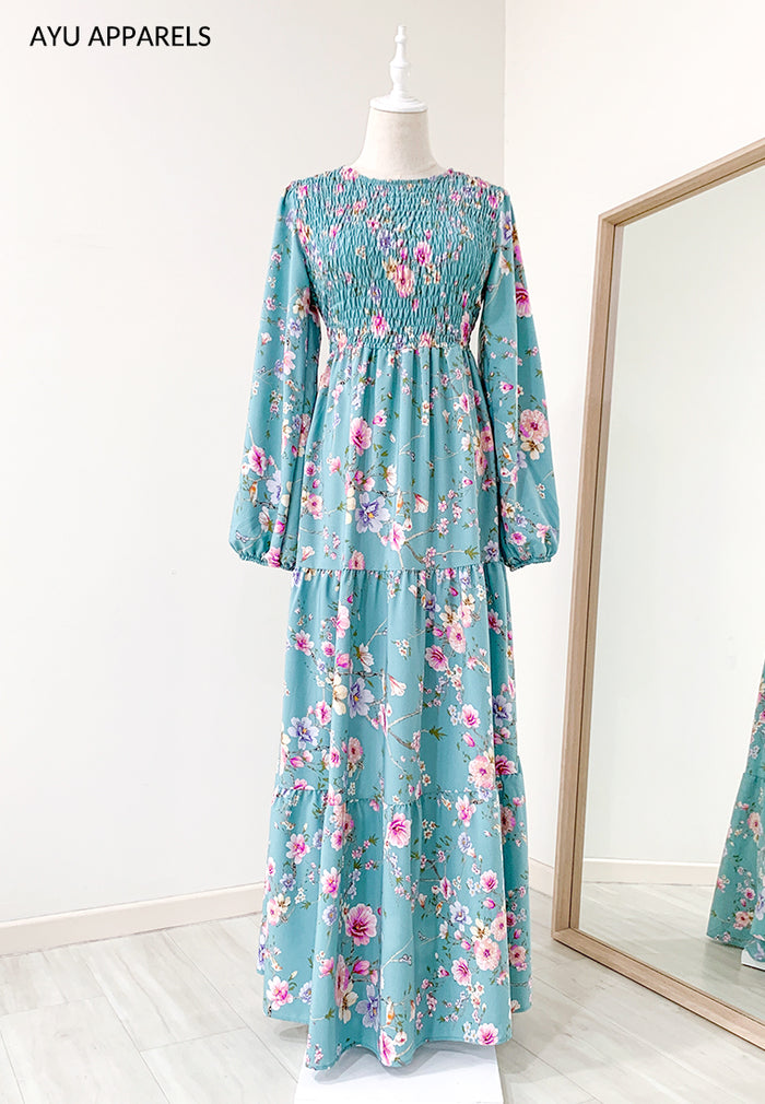 Cherry Blossom Smock Dress Turquoise
