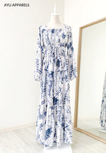 Tie Dye Drawstring Dress Washed Blue