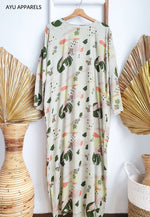 Printed Cotton Dress Dull Green