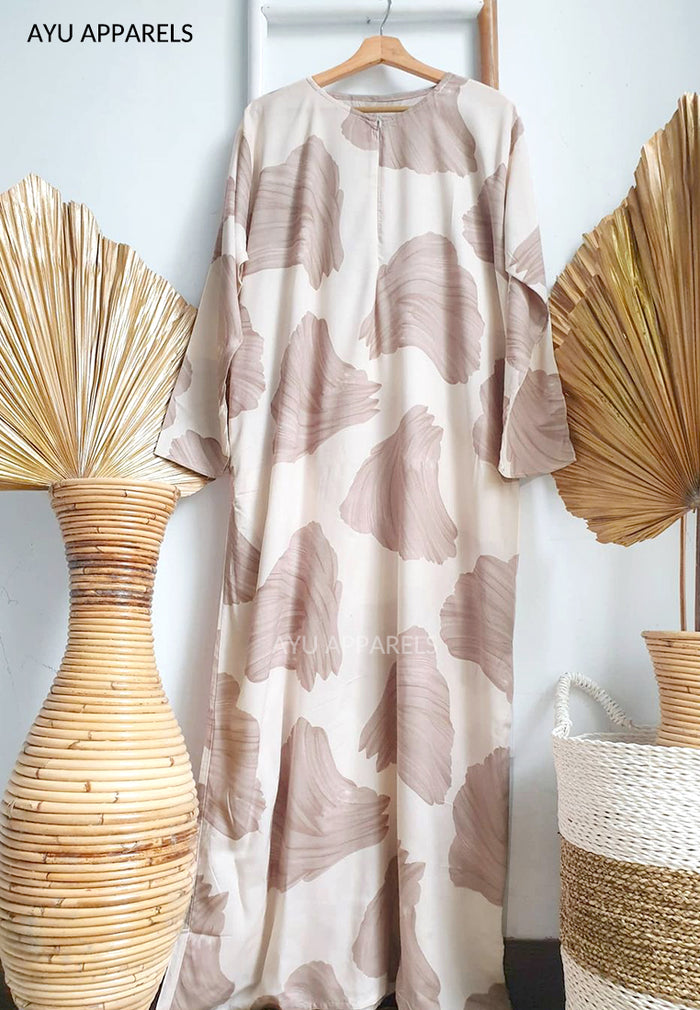 Printed Cotton Dress Petals Nude