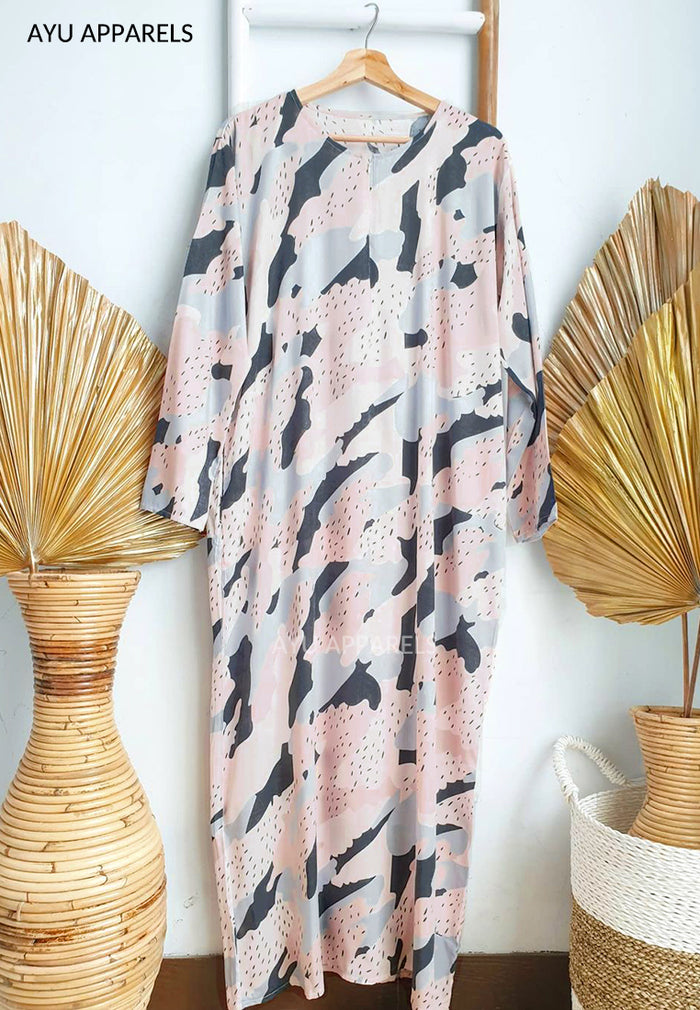 Printed Cotton Dress Pink Smudge