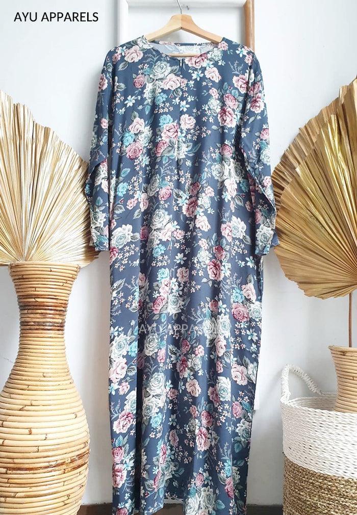 Printed Cotton Dress Rose Blue