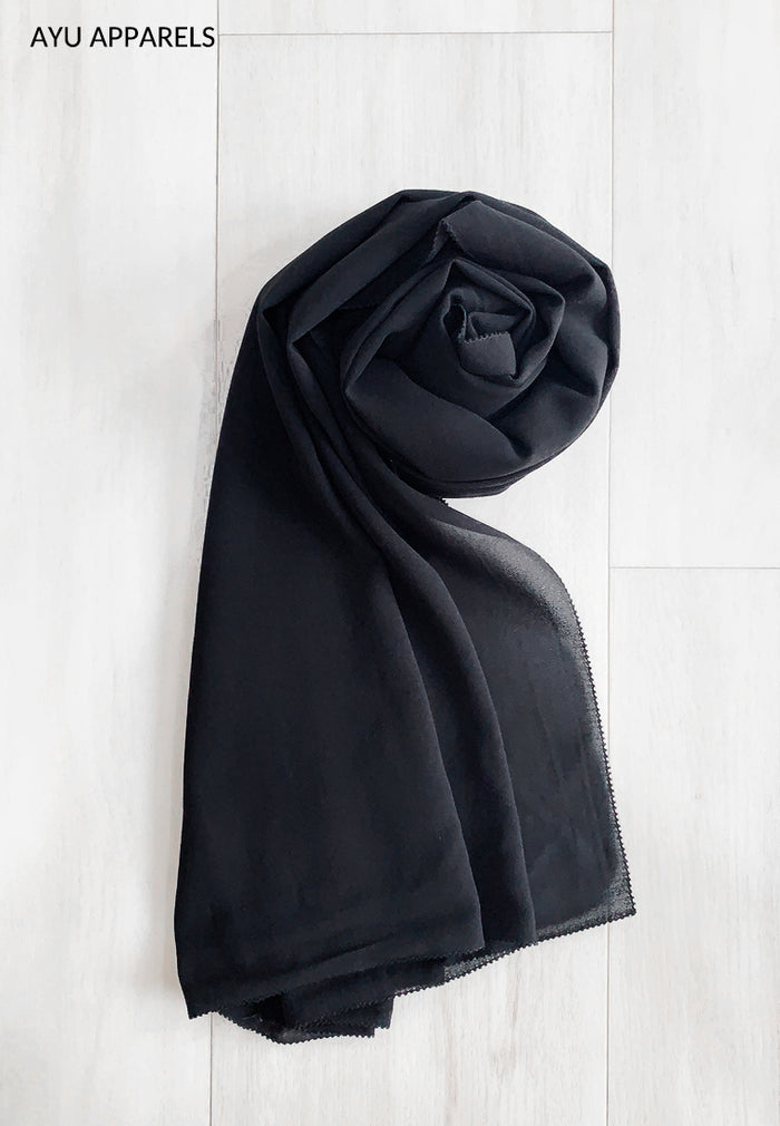 Widya Eyelash Chiffon Shawl Black