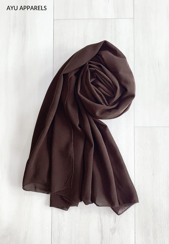 Widya Eyelash Chiffon Shawl Dark Brown