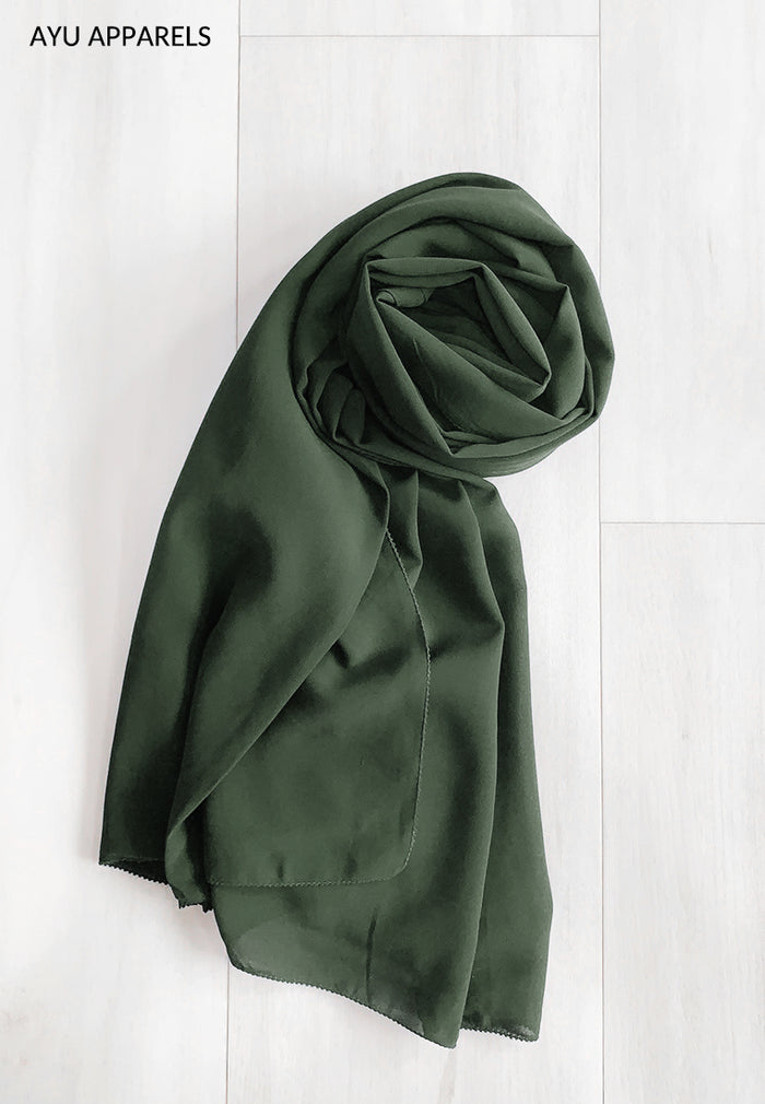 Widya Eyelash Chiffon Shawl Forest Green