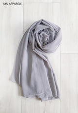 Widya Eyelash Chiffon Shawl Light Grey