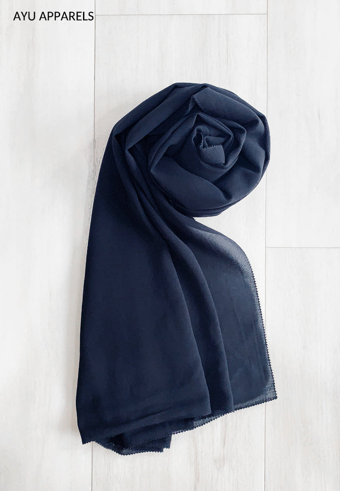 Widya Eyelash Chiffon Shawl Navy Blue