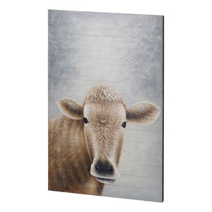 Hand Painted Original Oil on Wood Cow