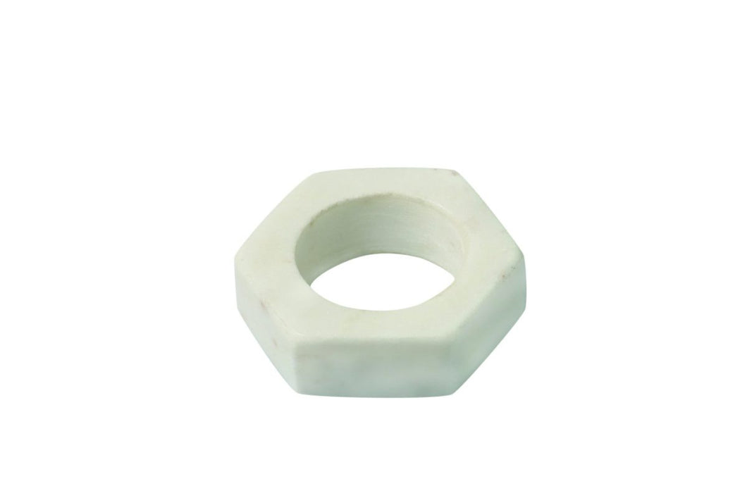 White Marble Napkin Ring, Hex