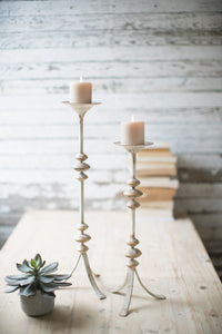 Painted Metal Candle Towers (Set of 2)