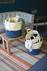 Blue Bottom Braided Basket (Multiple Sizes)