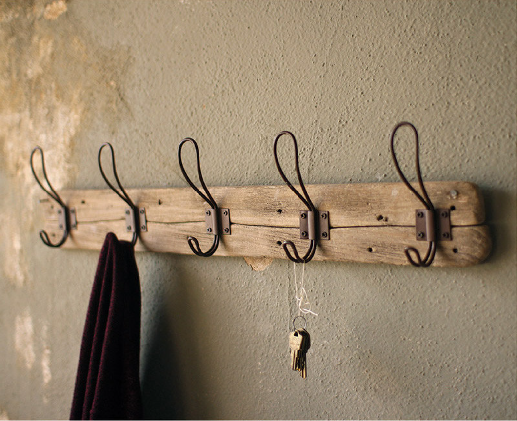 Recycled Wooden Coat Rack w/ Rustic Hooks