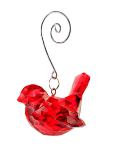 Red Faux Crystal Bird Ornament