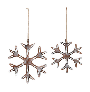 Carved Whitewashed Snowflake Ornaments