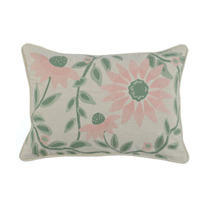 "20"" Embroidered Pink & Green Pillow"