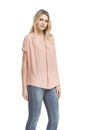 Sslv Shirred Blouse | French Coral