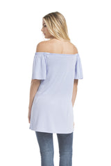 Sslv Off The Shoulder Tunic Top | Ash Blue