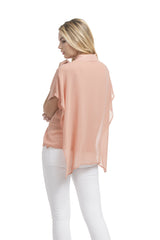 Angelina Poncho Shirt | French Coral