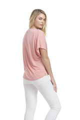 Sslv Shoulder Pleated Top | Ash Coral