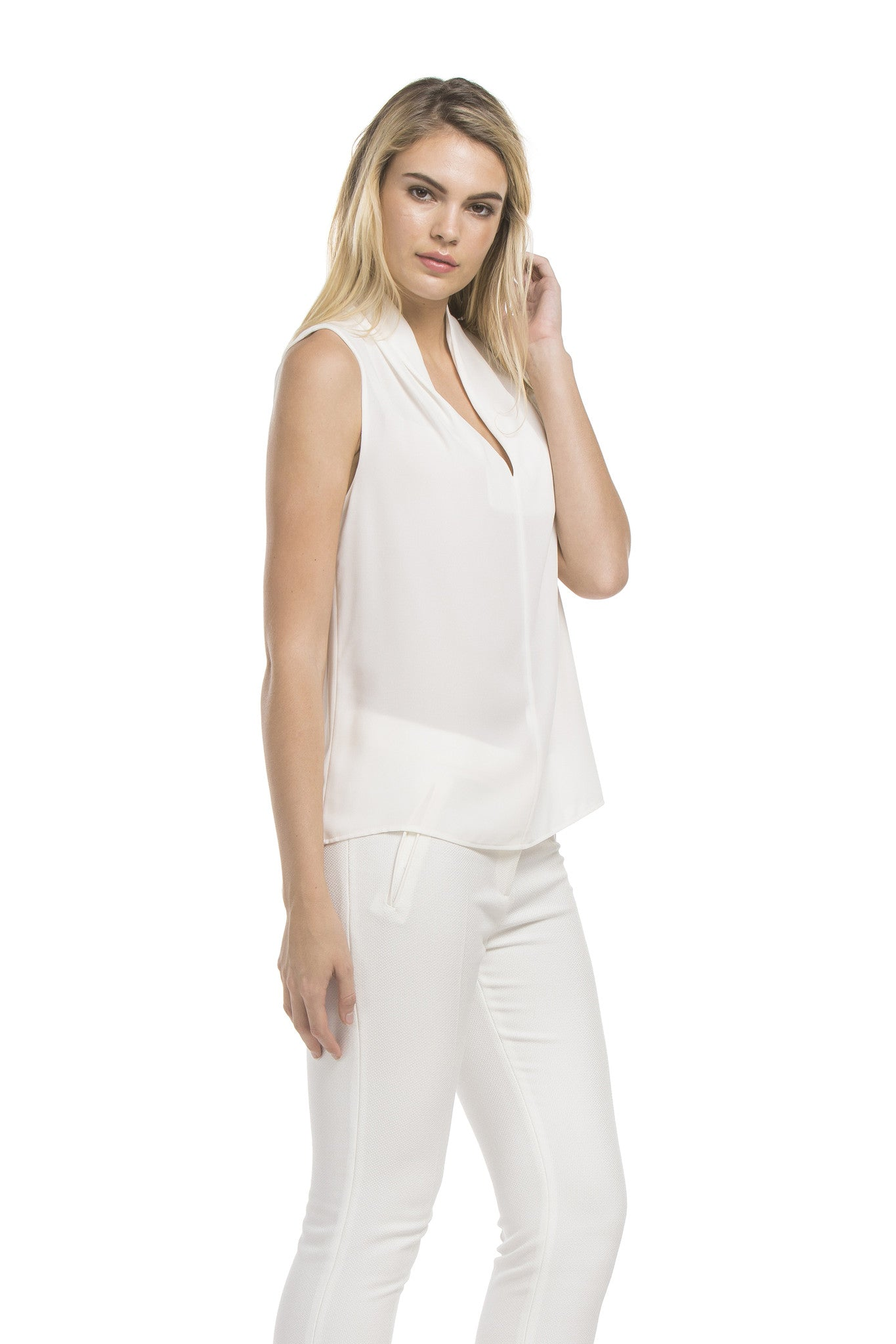 Slvless Pintuck Blouse | Ivory