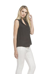 Slvless Pintuck Blouse | Black