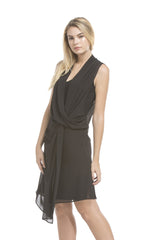 Front Twist Sheer Dress | Black