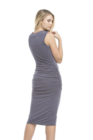 Side Shirred Tank Dress | Ash Navy