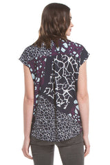 S/S Twist Front Blouse | Abstract Stone Prt