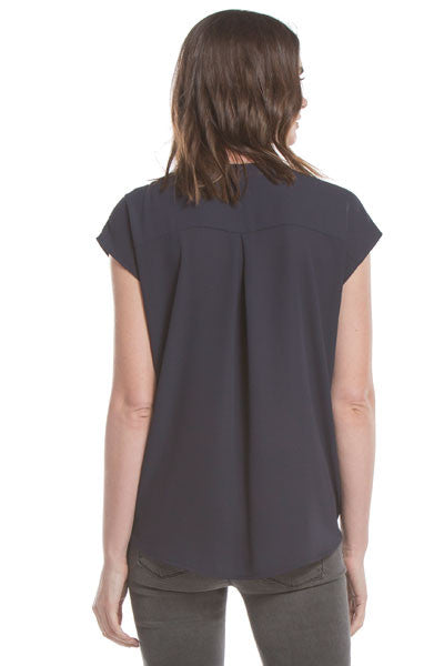 S/S Twist Front Blouse | Navy