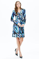 WAVE L/S DRESS | BLUE