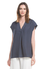 V-neck Slip-on Blouse | Ink
