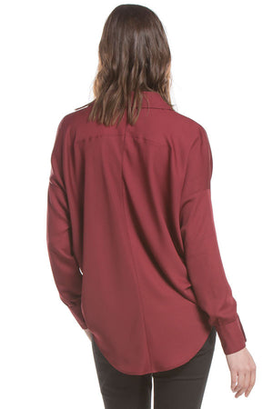 Drapped Collar Blouse | Wine
