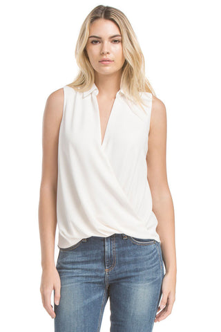 Slvless Twist Blouse | Ivory
