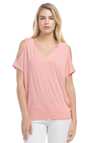 Cold Shoulder Sslv Top | Ash Coral