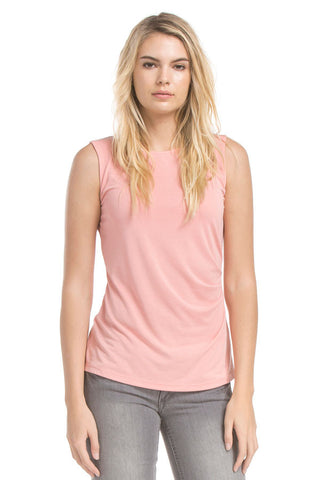 Slvless Pleats Top | Ash Coral