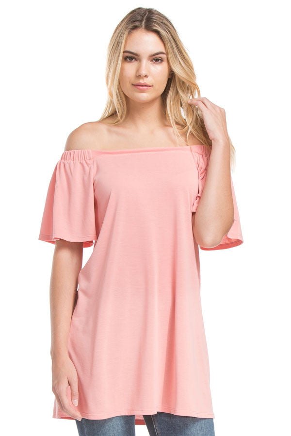Sslv Off The Shoulder Tunic Top | Ash Coral
