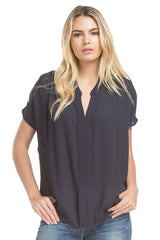 Sslv Shirred Blouse | Navy