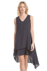 Hailey Asymmetrical Dress | Navy