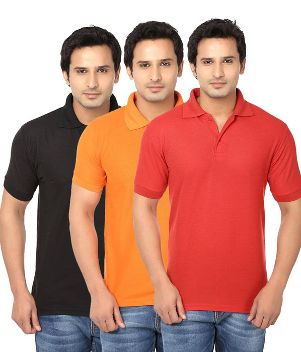 Pack Of 3 Men's Cotton Polo-T Shirt