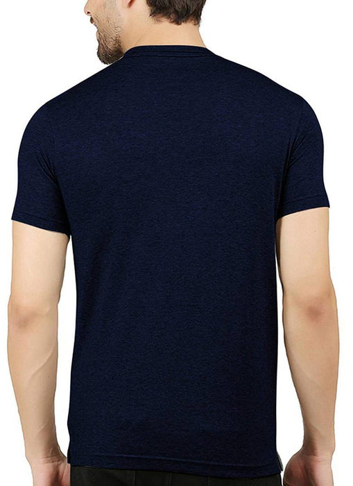 Men Navy Blue Cotton Printed Round Neck Tees