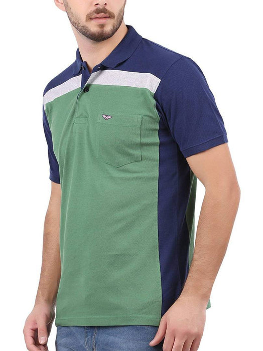 Men Multicoloured Cotton Self Pattern Polos