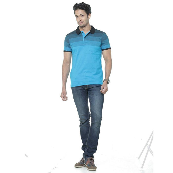 Men Blue Cotton Printed Polos T-Shirts