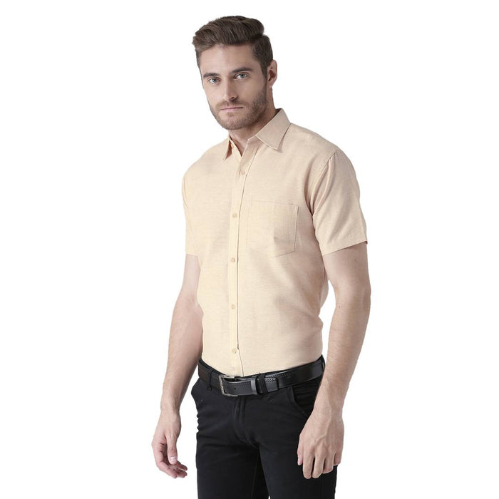 Beige Cotton Half Sleeve Solid Formal Shirt