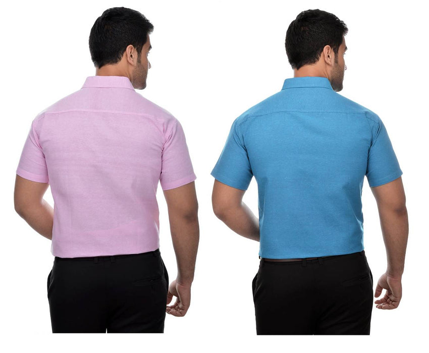 Multicoloured Cotton Half Sleeve Solid Formal Shirt (Combo of 2)