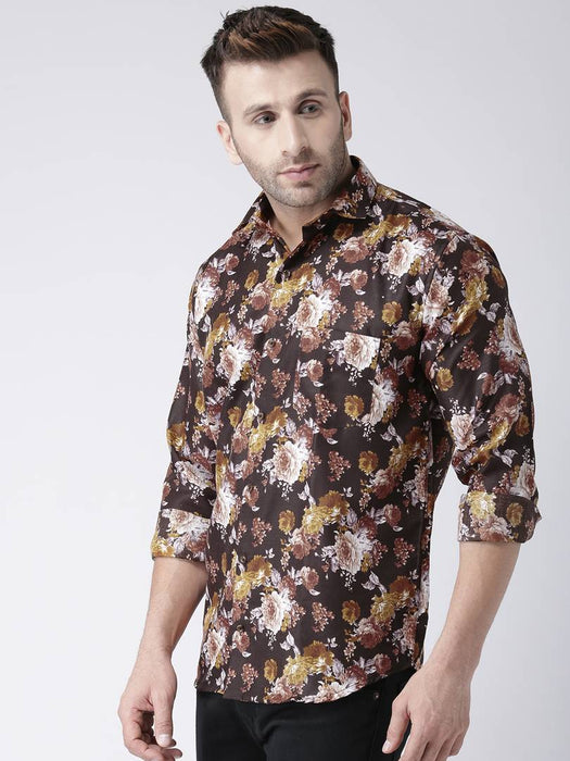 Hangup Multicoloured Cotton Blend Printed Slim Fit Casual Shirt