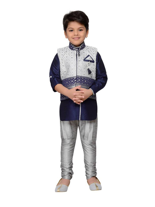 Navy Blue Kids Partywear Kurta Pyjama and Waistcoat Set