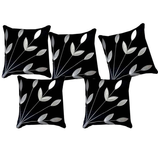 Golden Leaf Black Cushion Covers Pack Of 5