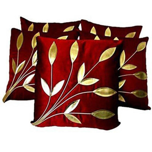 Golden Leaf Maroon Cushion Covers Pack Of 5