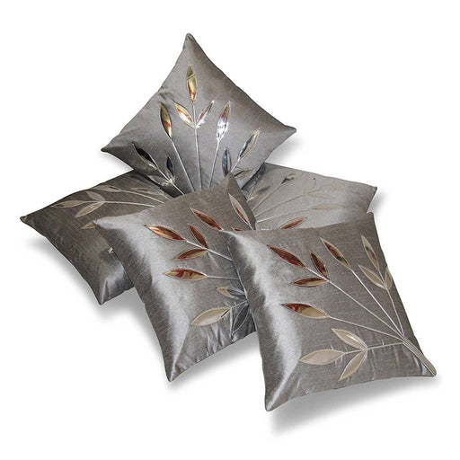 Golden Leaf Silver Cushion Covers Pack Of 5