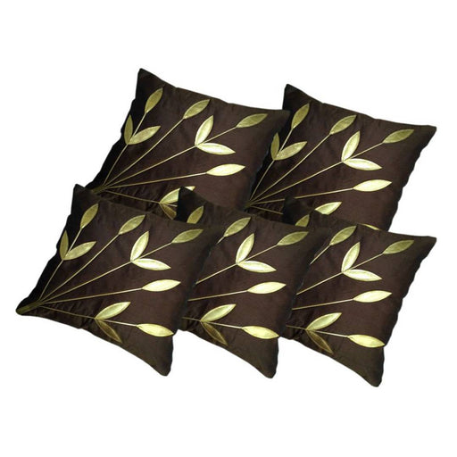 Golden Leaf Brown Cushion Covers Pack Of 5